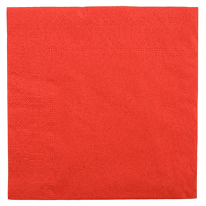 100 serviettes 2 plis 38 x 38 cm rouges
