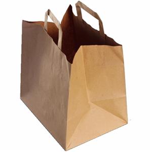 250 sacs cabas krafts bruns à poignées plates 26 x 20 x 28 cm