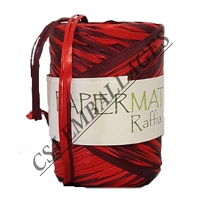 Pelote raffia rouge / bordeaux 100m x 10mm