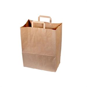 250 sacs cabas krafts bruns à poignées plates 32 x 17 x 42 cm