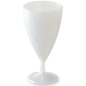 6 Verres à Vin Blanc Nacré Jetables en Plastique 15 cl csj